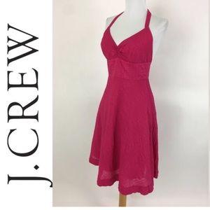 J Crew Hot Pink SeerSucker Halter Dress Sz 2